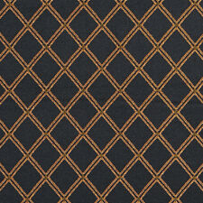 Onyx Black and Gold Classic Decorative Diamond Mesh Damask Upholstery Fabric