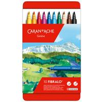 Caran d'Ache Fibralo 10 Fibre Tipped Felt Pens Artist Color Marker Metal Tin Set