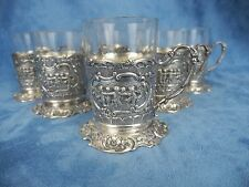Marshall Fields & CO Set 6 Sterling Silver Demitasse Cups Tea  Coffee w/Glass