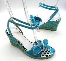 STUART WEITZMAN Size 6.5 Blue Turquoise Suede Woven Wedge Ankle Strap Sandals