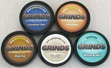 Grinds Flavored Coffee Pouches FLAVOR SAMPLER Caffeine Chew No Tobacco (5 CANS)