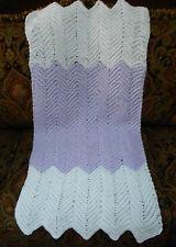 Handmade Crochet Baby Blanket Afghan Lavender White Ric Rag Zig Zag New vry soft