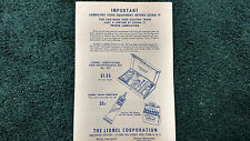 LIONEL # 926 LUBRICATING KIT INSTRUCTIONS PHOTOCOPY