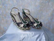 Vintage style cream & green miMaO crochet tbar wedges chevron pattern heel