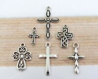 Set of 6 CROSS Charms, Antique Silver Mixed Collection, Lot 6 Different Crosses