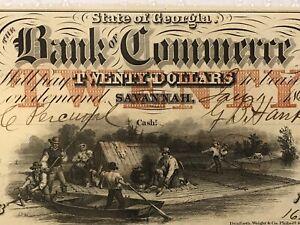 1862 $20 Bank Of Commerce Savannah Georgia- Graded CHOICE UNCIRCULATED 64
