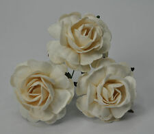25 WHITE HYBRID TEA ROSE Mulberry Paper weddings crafts cardmaking