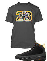 23 University Gold Tee Shirt To Match Air Jordan 9 Dark Charcoal Shoe Mens Tee