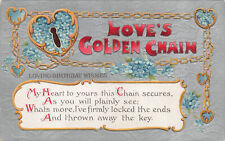 R280017 Greeting Card. Birthday. Loves Golden Chain. Poetry. B. B. No. 30