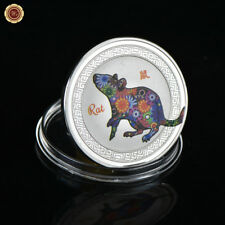 WR Chinese Zodiac Silver Colorized Coin Year of the Rat Birthday Gift For Child