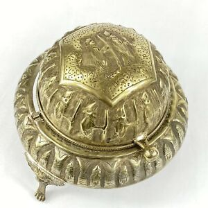 Vintage Brass Domed Butter Caviar Serving Dish Compote Roll Flip Top Lid Ashtray