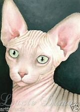 Aceo art print Cat 412 Sphynx from original painting by L.Dumas