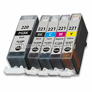 5 pk Canon PGI-220 CLI-221 Ink Cartridge PGI 220 CLI 221