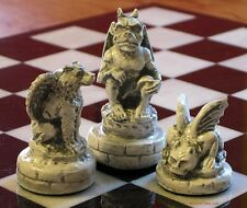 GARGOYLE CHESS MEN - SET OF CLASSIC WINGED MONSTERS - HAND MADE (rosewood) 614