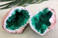 """3"""" Green Geode Pair Crystal Geode Quartz Druze Gemstone Specimen Morocco Dyed"""