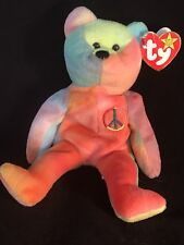 🔥Peace (1996) Ty Beanie🔥Baby Bear. PVC🔥/SUPER-Rare/Retired🔥AUTHENTICATED🔥