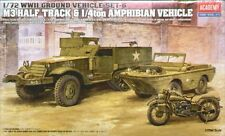 ACADEMY 1.72 Scale US M3 Halftrack & Amphibian Vehicle GROUND VEHICLE SET -13408