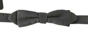 DOLCE & GABBANA Bow Tie Gray Patterned Silk Adjustable Papillon