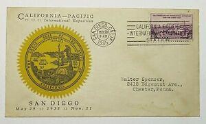 1935 FDC California Pacific International Exposition Seal of California Sc #773