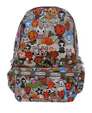 FUNKY CARTOON Grey Backpack Rucksack School College Goth Skull Rock Punk Bag