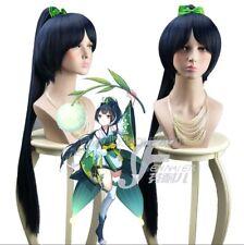 The Onmyoji Dark Blue Long Straight Cosplay Wig + 85cm Ponytail Full Hair Wigs