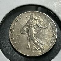 1918 FRANCE SILVER 50 CENTIMES NICE GRADE COIN