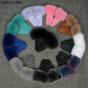 2021 Genuine Leather Glove Real Sheepskin Fur Gloves Women Fashion Style 57200