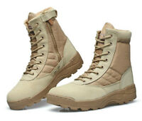 Mens womens Military Tactical Canvas leather boots Army Combat Hiking Shoes