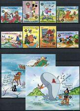 Grenada Grenadinen 1986 Disney Weihnachten Christmas 802-09 Block 117-118 ** MNH