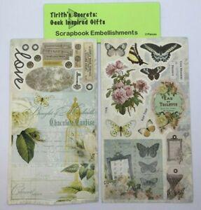 "Scrapbook Embellishments 8"" x 4.45"" Vintage Butterfly Die Cut Sheets Item #34"