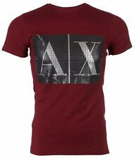 Armani Exchange Caixa designer homens logotipo T-shirt Premium Borgonha Slim Fit $45 Nova com etiquetas