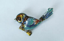 BRAND NEW 18K WHITE GOLD PLATED AND ENAMELLED BLUE/TURQUOISE WREN BIRD BROOCH