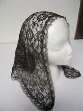 Vintage Catholic Brown Burgundy Lace Mantilla Headscarf Shawl Head Cover Scarf