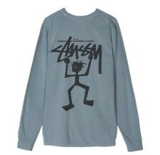 Stussy Womens Warrior Man Pigment Dyed Longsleeve Crew Tee Slate Green Uk Large