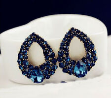 Luxury Fashion Women Charm Drops Crystal Blue Rhinestone Stud Dangle Earrings