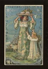 Greetings EASTER Glamour Lady and child silvered Embossed 1904 PPC