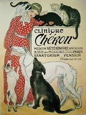 ART DECO Clinique Veterinary advertising print with cats and dogs A4 Photo print