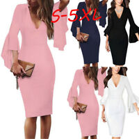 Women Sexy V-neck Flare Bell Sleeve Dress Work Office Party Bodycon Sheath Dress