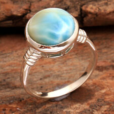 Natural Larimar Gemstone 925 Sterling Silver Solid Jewelry Ring Size US 7.5