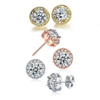 18K White Gold Plated Round Halo Stud Earrings Made with Swarovski Elements