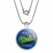 """Doggy Dog Paddle Canoe Dogs 1"""" Pendant with Sterling Silver Plated Chain"""
