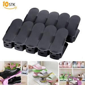10X Schuhregal Verstellbarer Schuhstapler Schwarz Schuhhalter Organizer Schuh