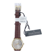 Claude Bernard for LOFT - Womens - NWT$128 - Brown Leather Stainless Steel Watch
