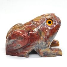 """2.6"""" Stone Carving Frog Figurine Natural Bamboo Jade Crystal Healing Lucky Decor"""