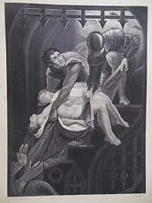 Orginal c1850 Antiquarian Engraving - Murder of the Two Princes (In The Tower)