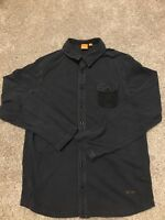 Hugo Boss Orange Mens Black Long Sleeve Button Up Shirt Size L