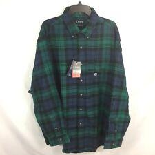 CHAPS - Blue / Green Plaid L/S Performance FLANNEL Soft Shirt 2XB Mens NEW $60