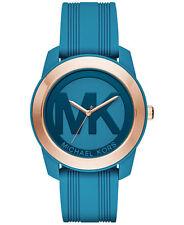 BNEW MICHAEL KORS Women's Preston Turquoise Silicone Strap Watch 43mm MK2559
