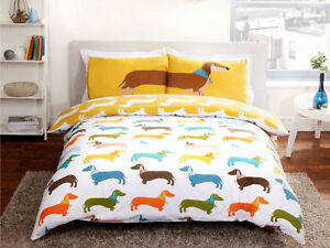 Funky Sausage Dog Reversible Bedding Set Duvet Cover Single Double King