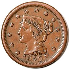 1850 N-28 R-3 Braided Hair Large Cent Coin 1c